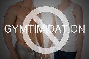 Gymtimidation - athletic, muscular man standing next to skinny, scrawny man