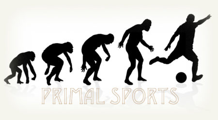 "Human evolution towards sports image with caption ""Primal Sports"""